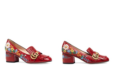 Gucci Women's Marmont Embroidered Patent Leather Mid Heel Loafers - Bloomingdale's_2